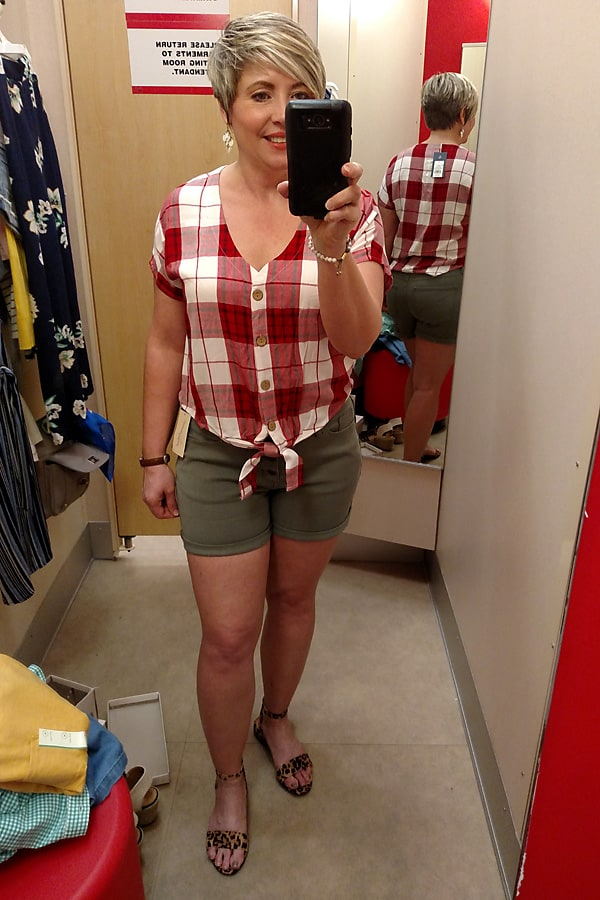 Plaid top and button fly shorts