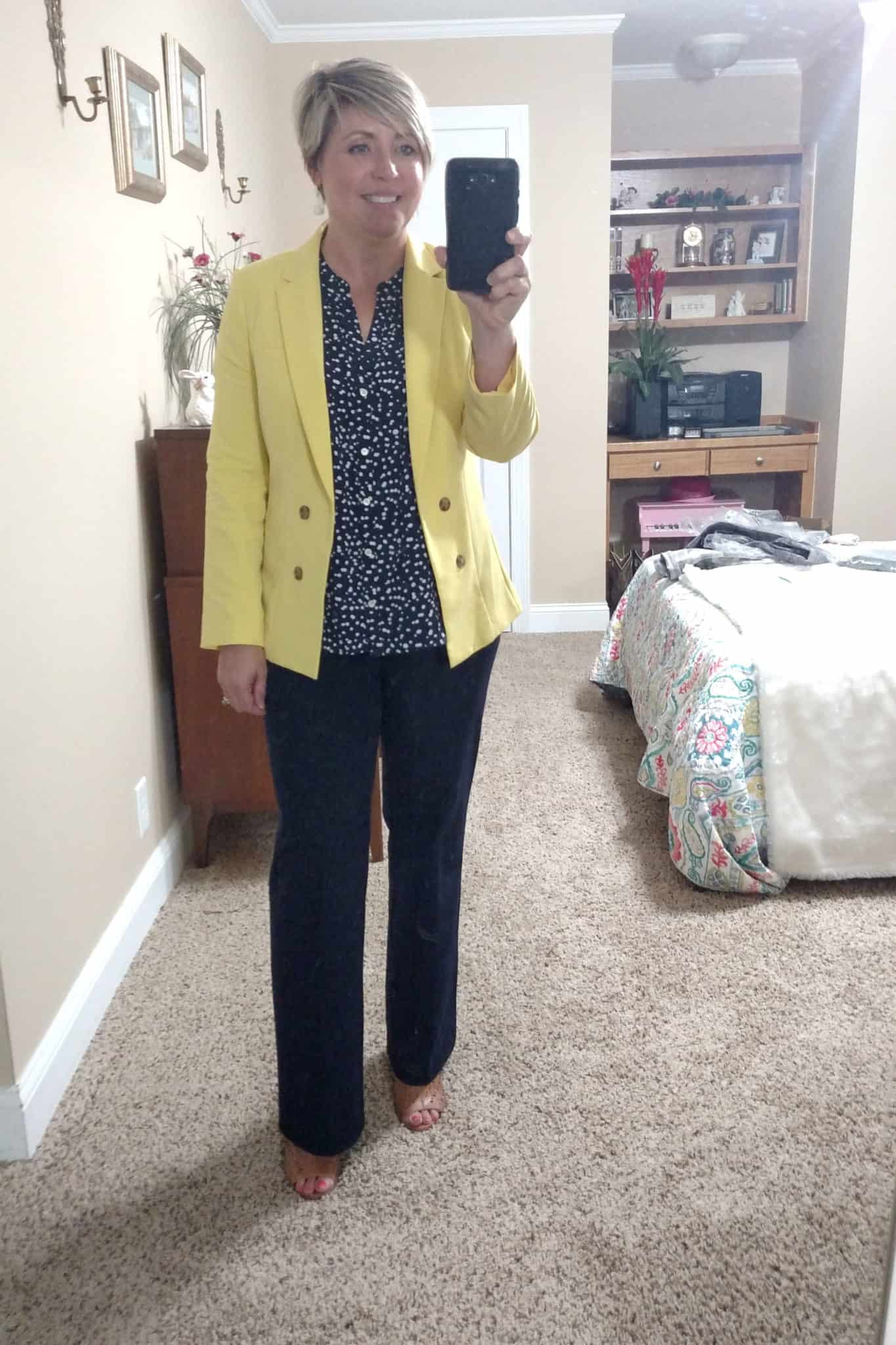 womens office attire, yellow blazer