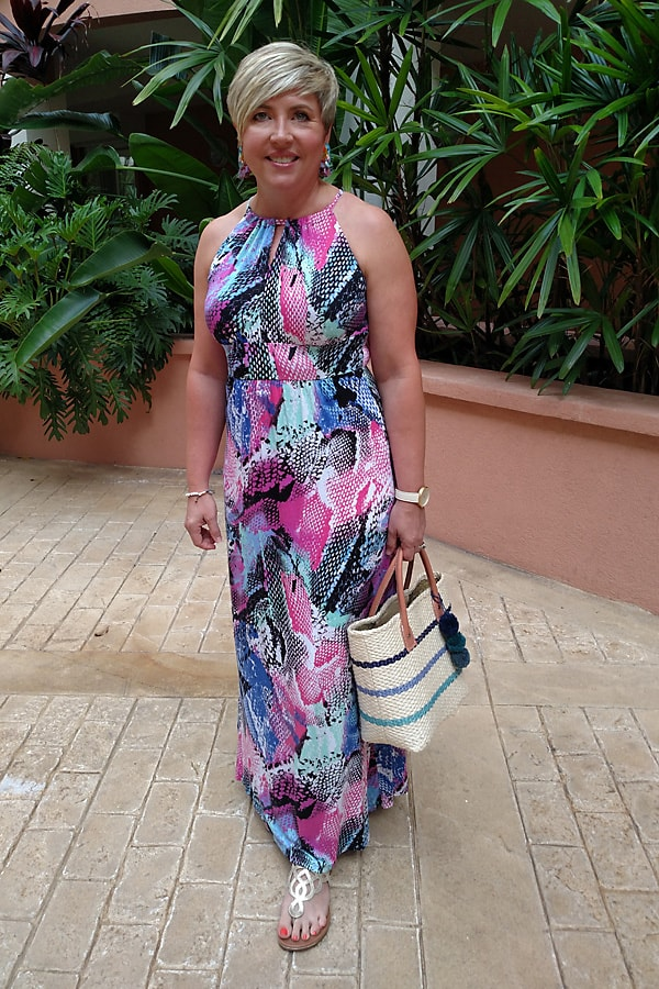 maxi dress casual vacation outfit, what to pack for a beach trip