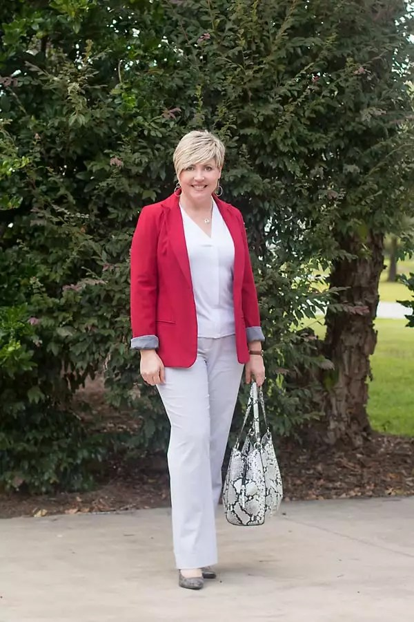 red blazer office outfit