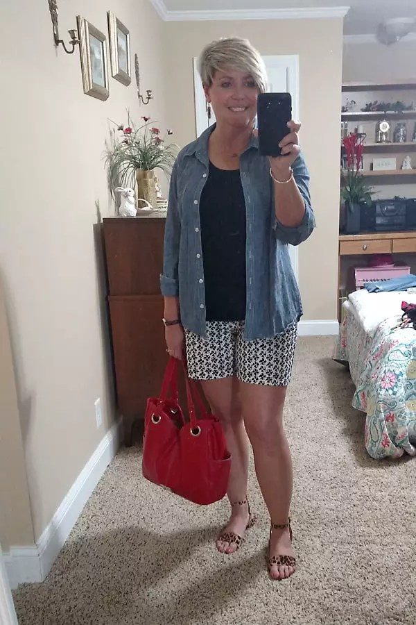 chambray shirt and shorts summer outfit