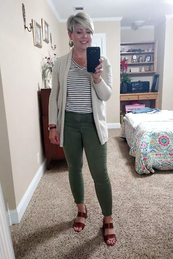 striped tee with olive jeans