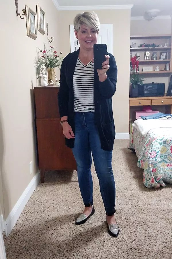 striped tee with cardigan and loafers