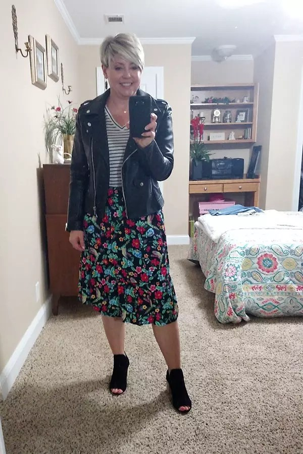 striped tee with skirt and moto jacket