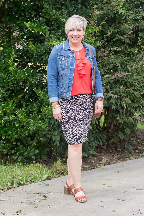 leopard print skirt summer to fall transition outfit