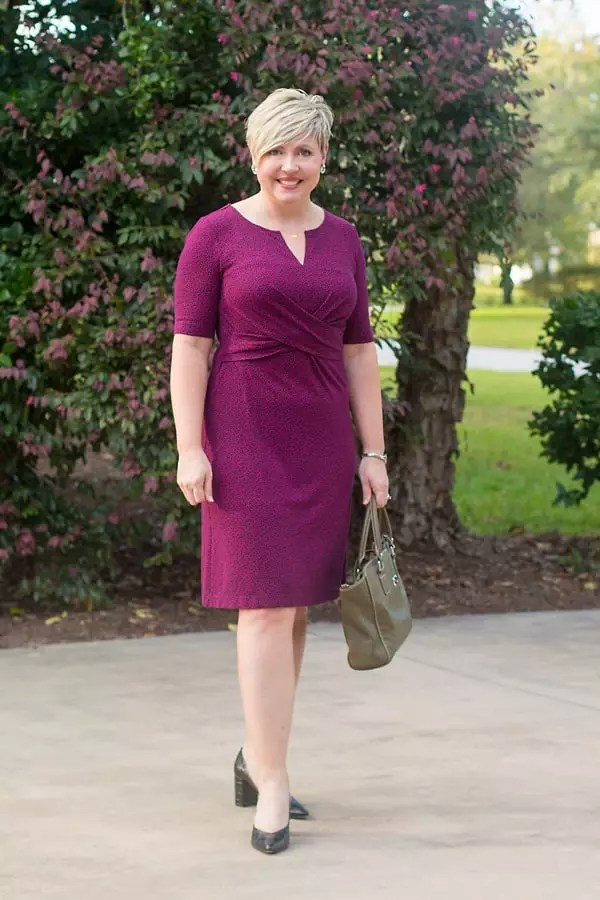 A wrap waist a-line dress with a print perfect for the office or church.