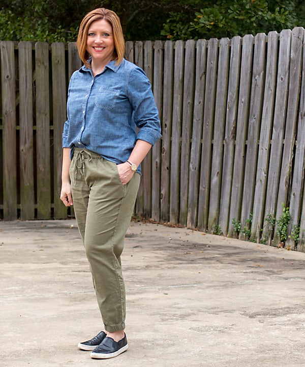 chambray and joggers outfit