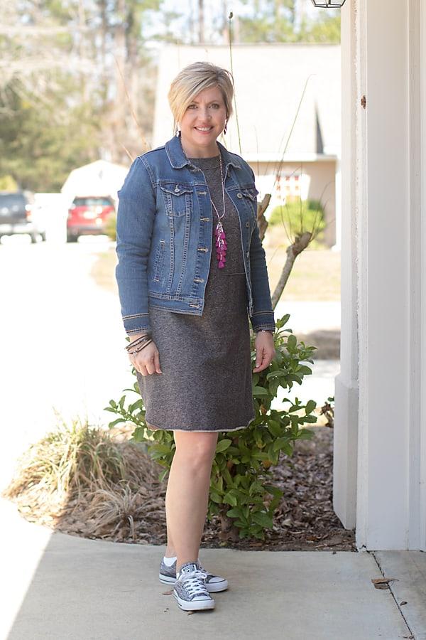 denim jacket with sweatshirt dress