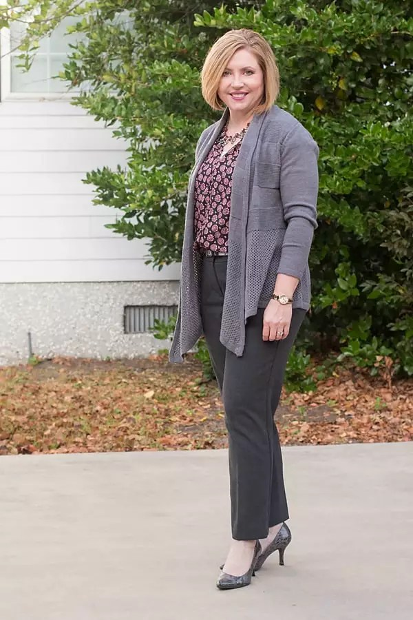 drapey cardigans office outfit