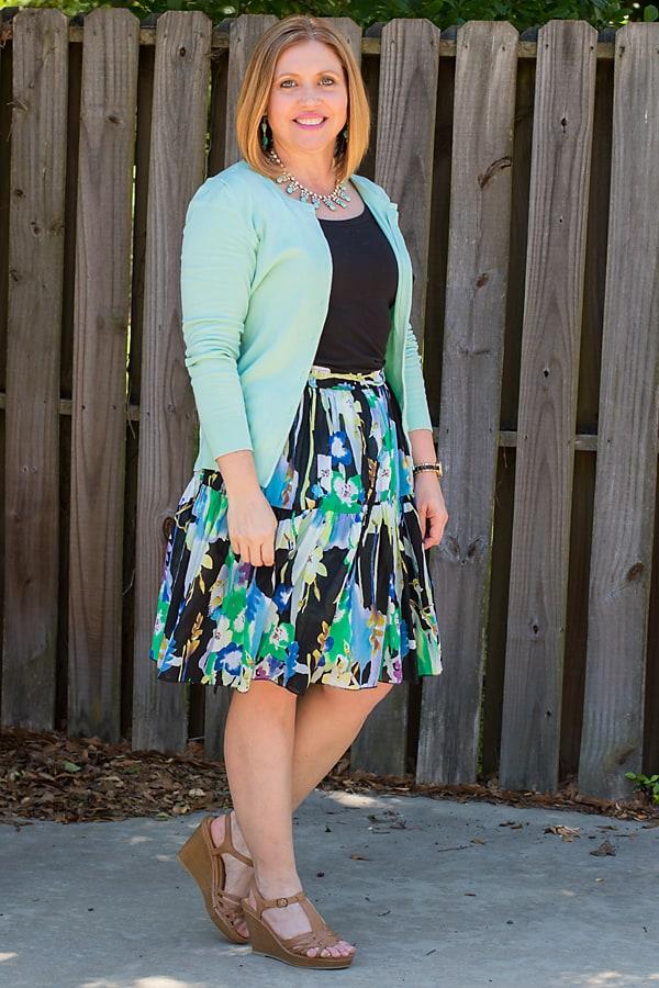 full skirt with waist length cardigan