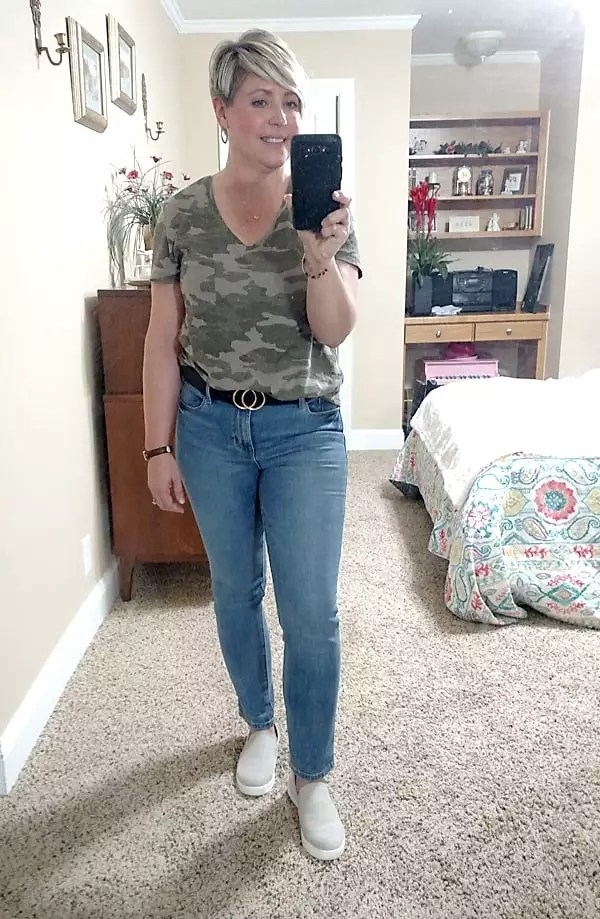 jeans and camo tee stay at home outfits
