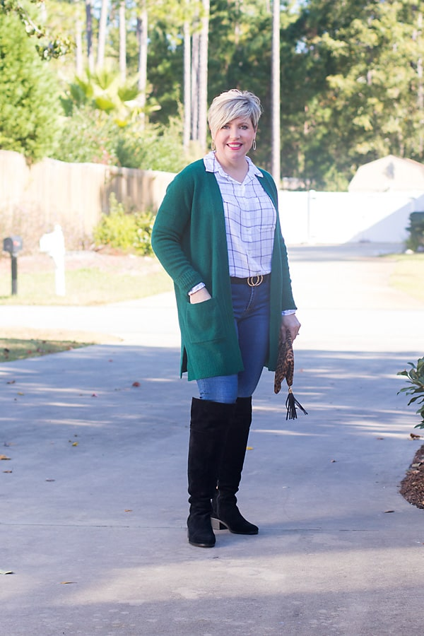 green cardigan with over the knee boots