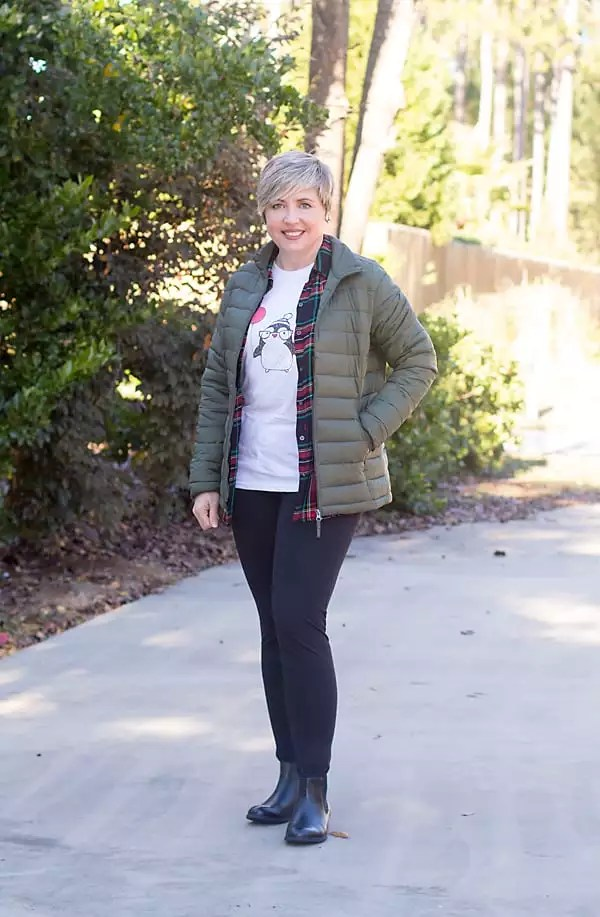 holiday graphic tee with plaid shirt and leggings