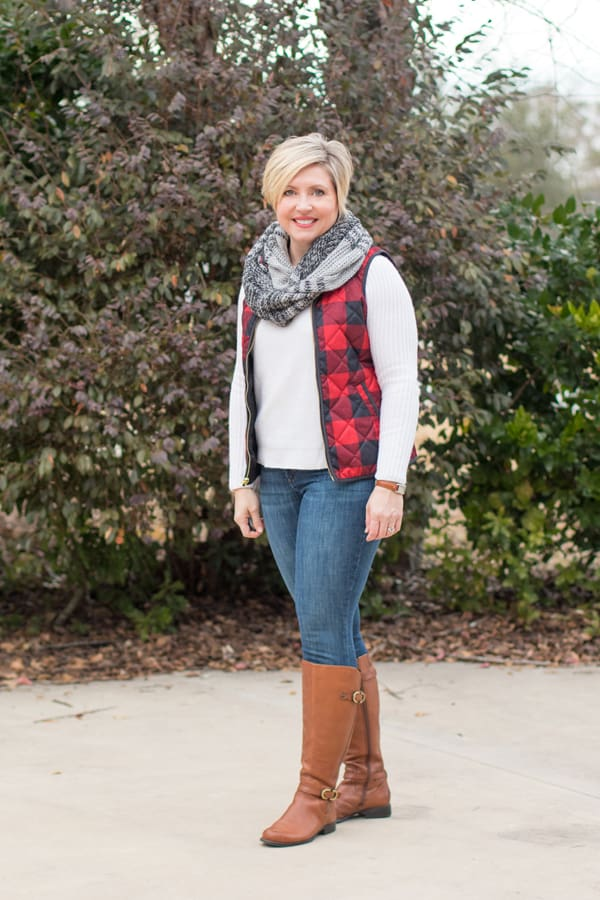 buffalo plaid vest with riding boots and scarf/ Christmas outfits for women over 40