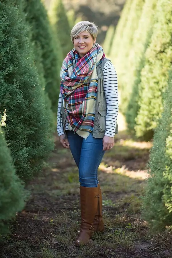 Christmas tree farm outfit with striped top and plaid blanket scarf