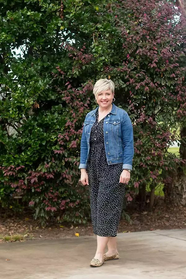 dotted jumpsuit with denim jacket