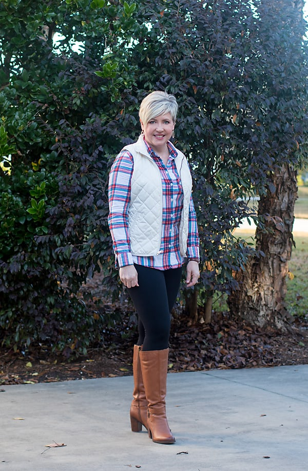 plaid shirt and leggings with tall boots