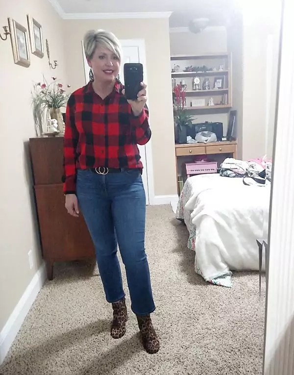 buffalo plaid and leopard pattern mixing