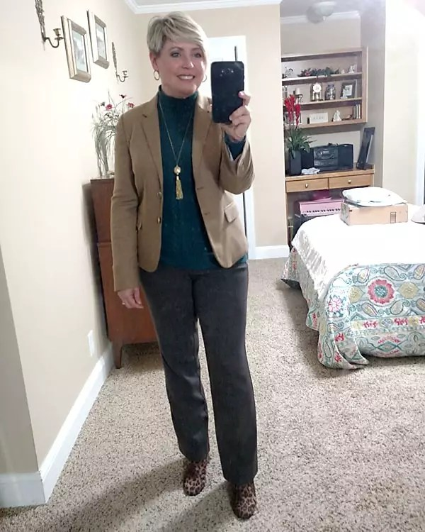 winter work wear with camel blazer