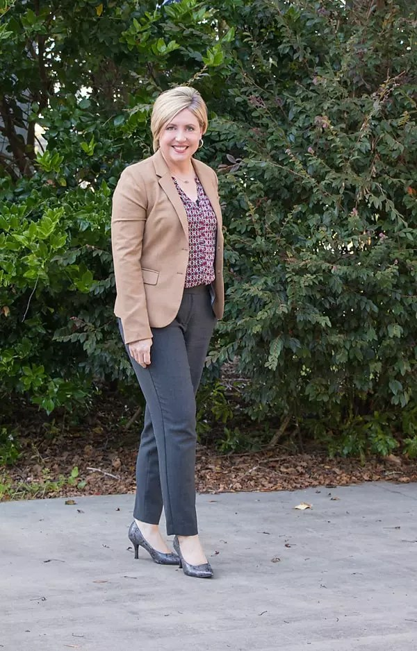 women's office outfit with patterned top