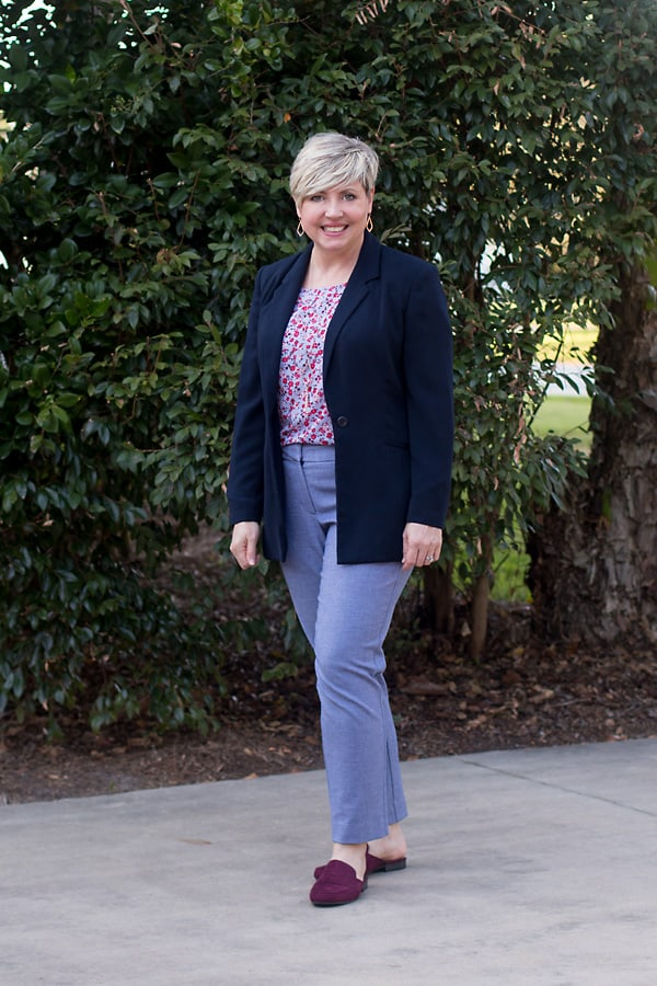 business casual in loafer mules