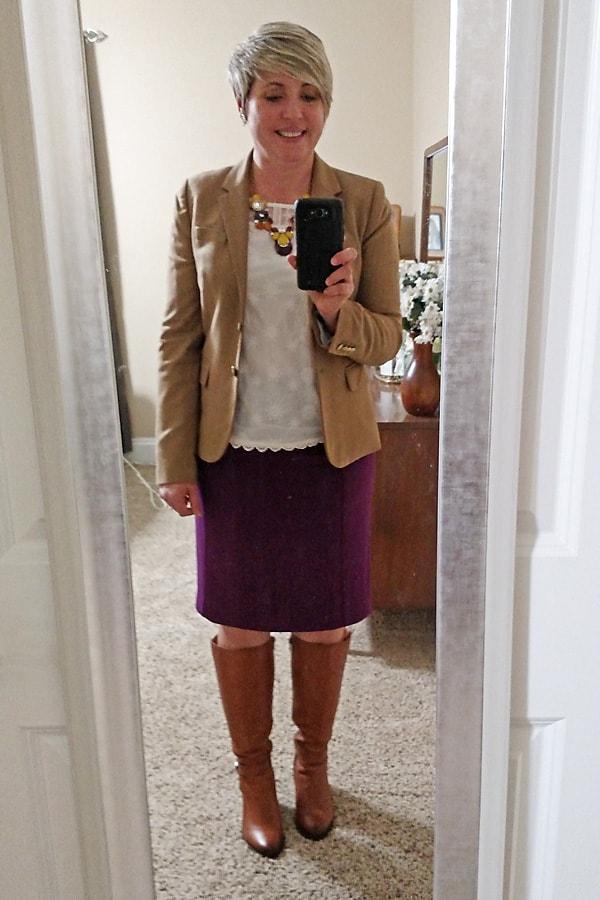 camel blazer with pencil skirt
