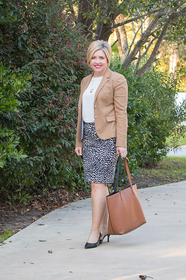 leopard pencil skirt office outfit