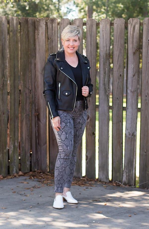moto jacket and snakeskin jeans