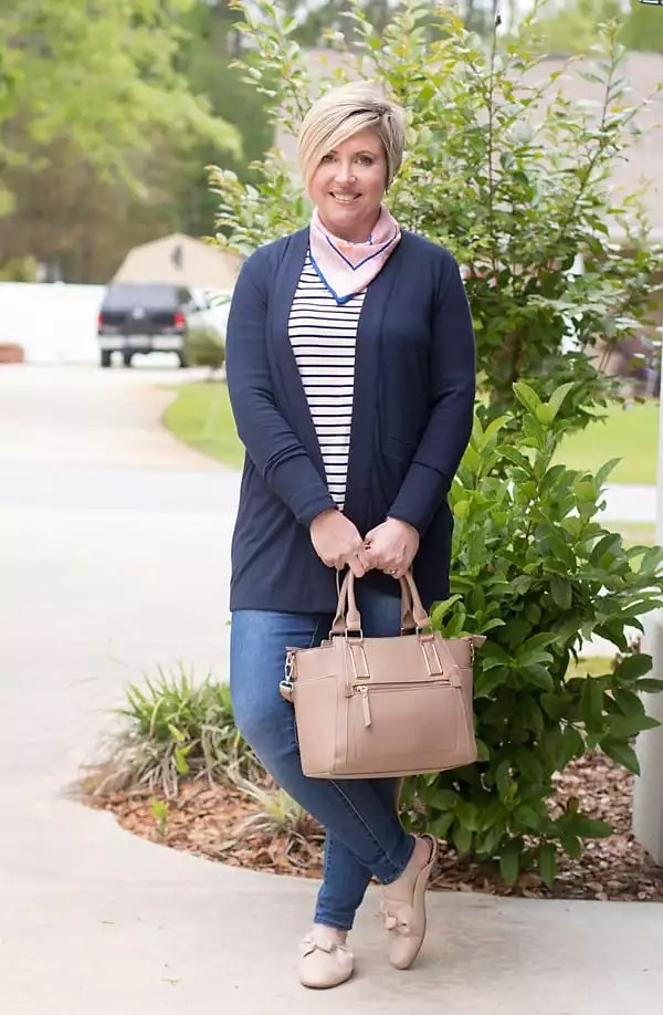 navy cardigan outfit with blush mules