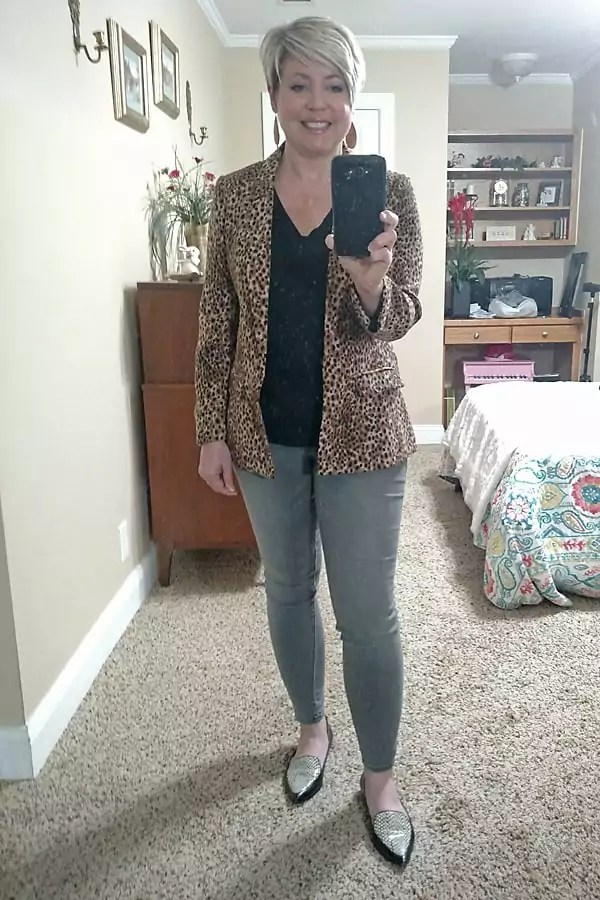 leopard blazer outfit/ work from home outfit