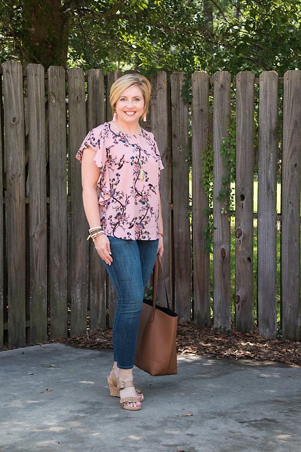 ruffle trim mauve blouse