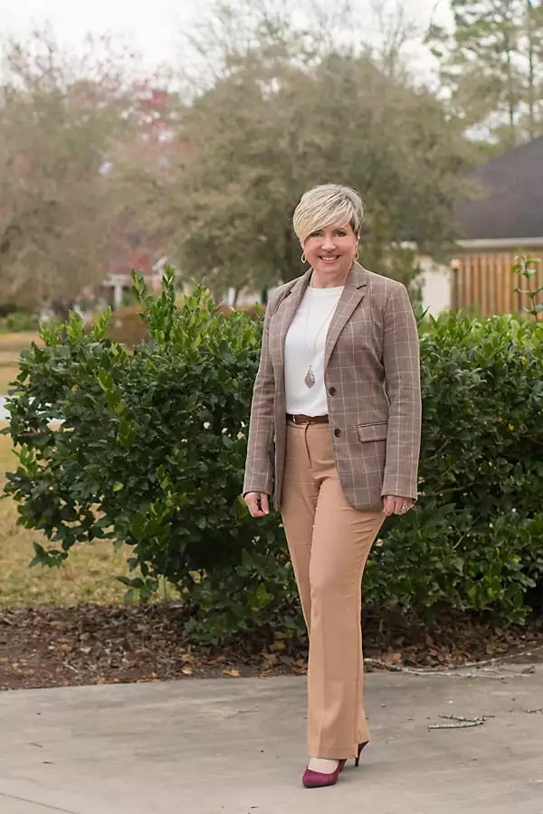neutrals- plaid and camel pants