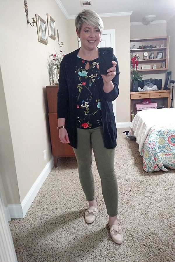 olive jeans with black cardigan work from home outfit