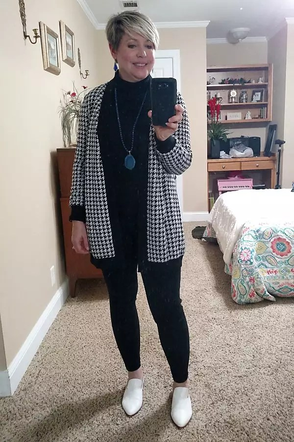 all black outfit with houndstooth cardigan