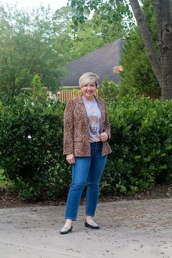 leopard blazer with band tee