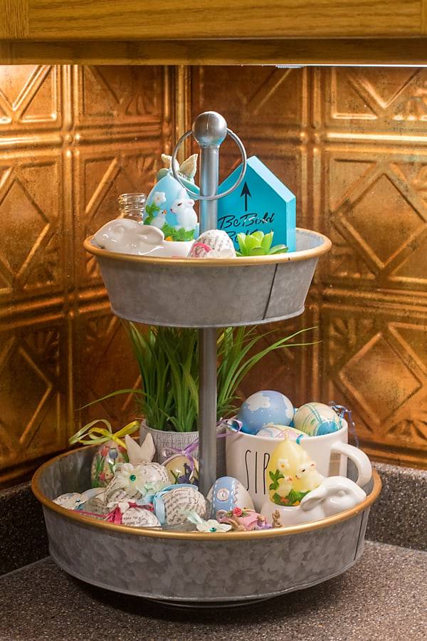 tiered tray Easter theme