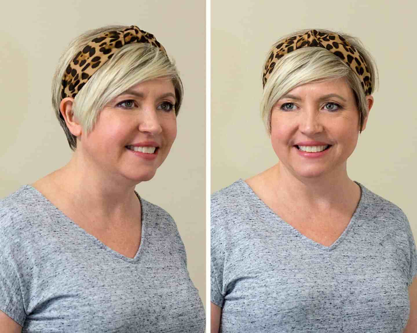 leopard headband on pixie cut