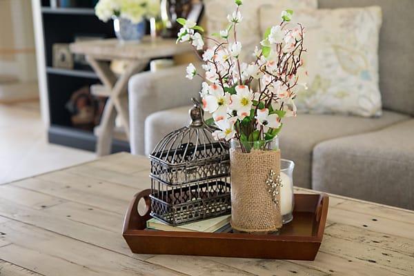 coffee table vignette home decor