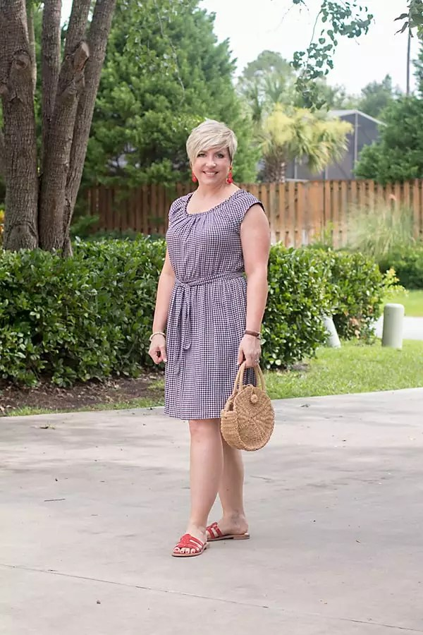 gingham dress easy outfit for Fourth of July