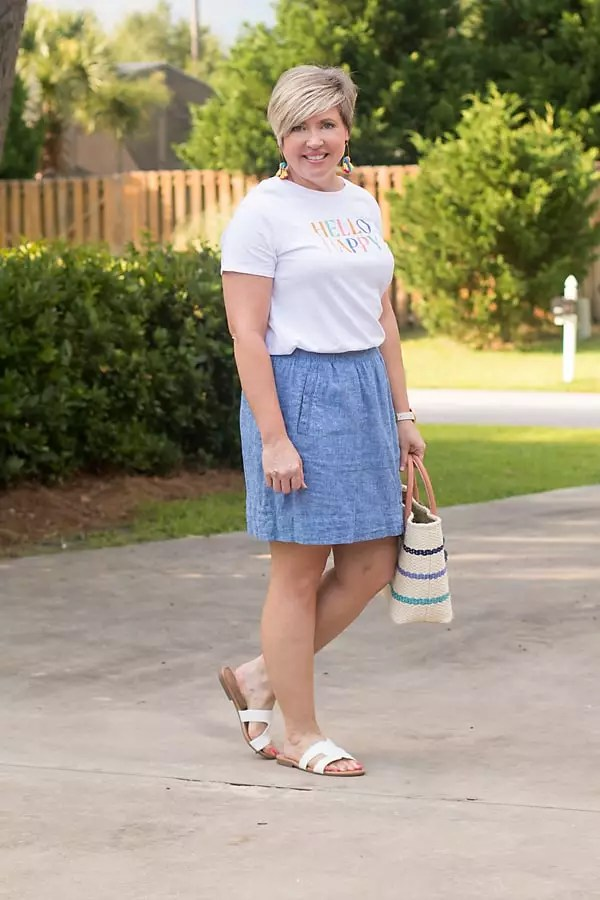 chambray skirt with graphic tee outfit