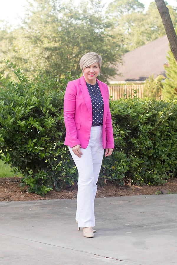 hot pink blazer summer office outfit
