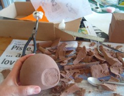 Hollowing out eye-socket for moth puppet; Tallulah (a very small love story)