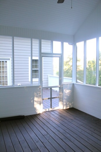 white painted screened in porch