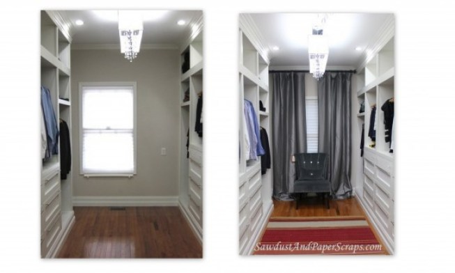 How to use curtains to hide an off center window.