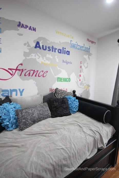 World Art Bedroom - SawdustGirl.com house tour