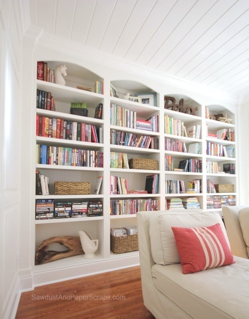 Library with White Painted Built-In Bookshelves