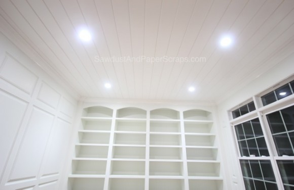 installing a plank ceiling sawdust