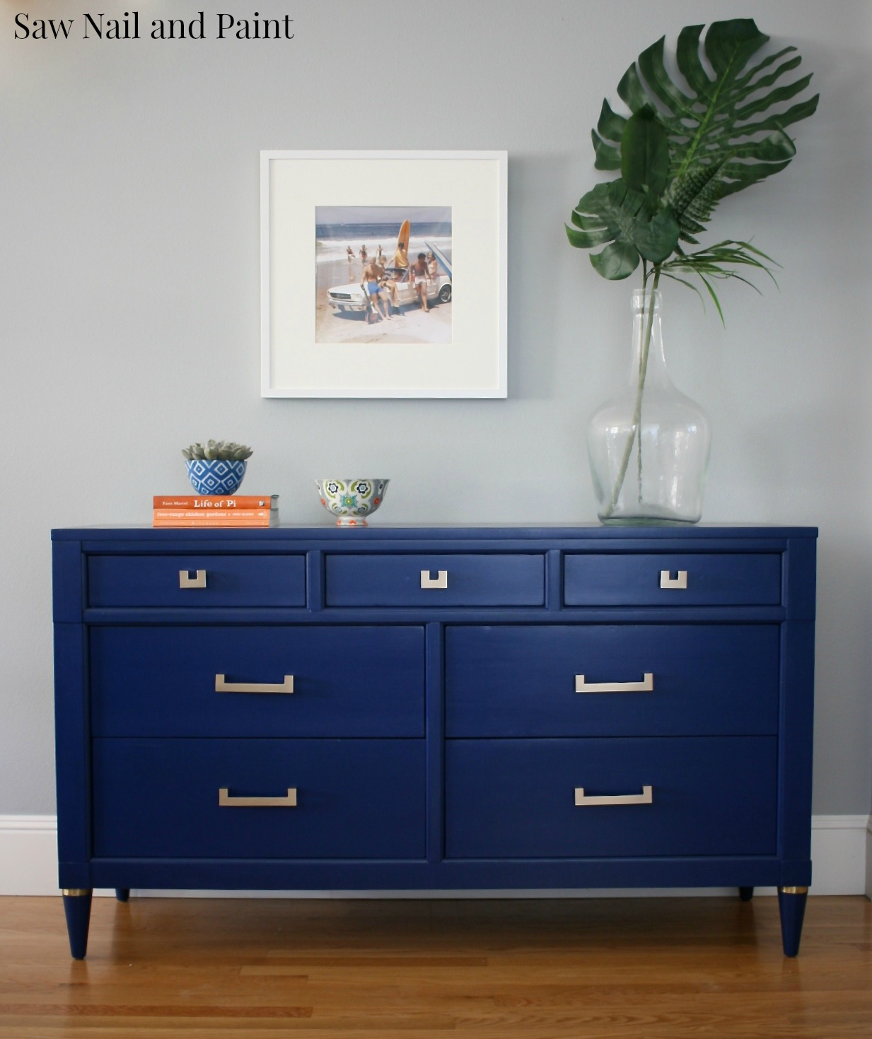 Sapphire blue midcentury dresser saw nail and paint for Navy blue painted furniture