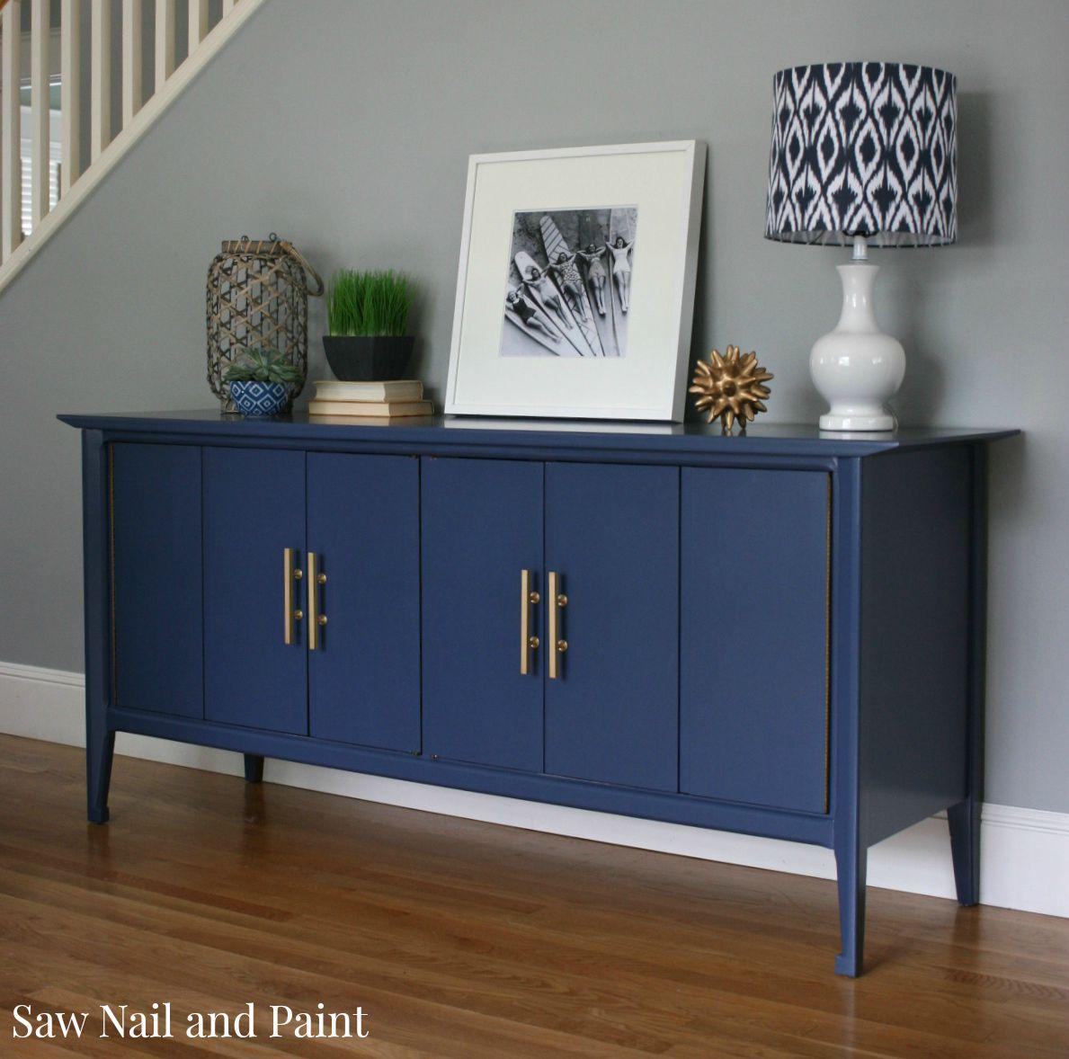 Indigo Blue Mid Century Buffet Saw Nail And Paint