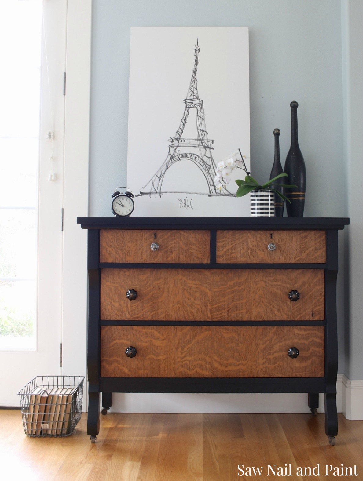 vintage empire dresser makeover - saw nail and paint